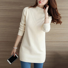 2017 women's cashmere sweater women's long warm sweater autumn and winter fashion Elastic loose knit pullover women LU114