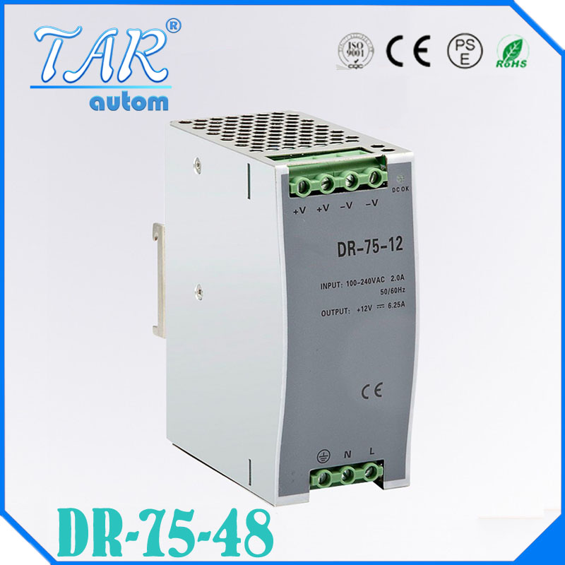 75w 48v 1.6a din rail model ce approved 75w DR-75-48 power supply rail din 48v with wide range input high quality high quality small size mini power supply ms 35 48 35w 48v 0 73a switching power supply with wide ac input range with ce