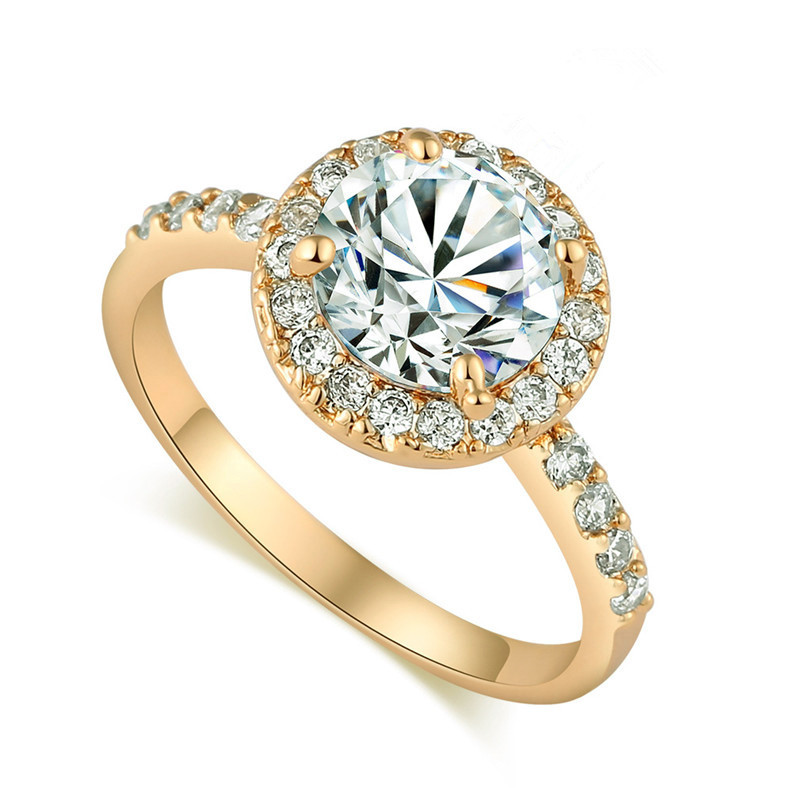 New Gold Color Round Engagement Rings for Women Brilliant Female Cubic Zirconia Ring Anillo 2018