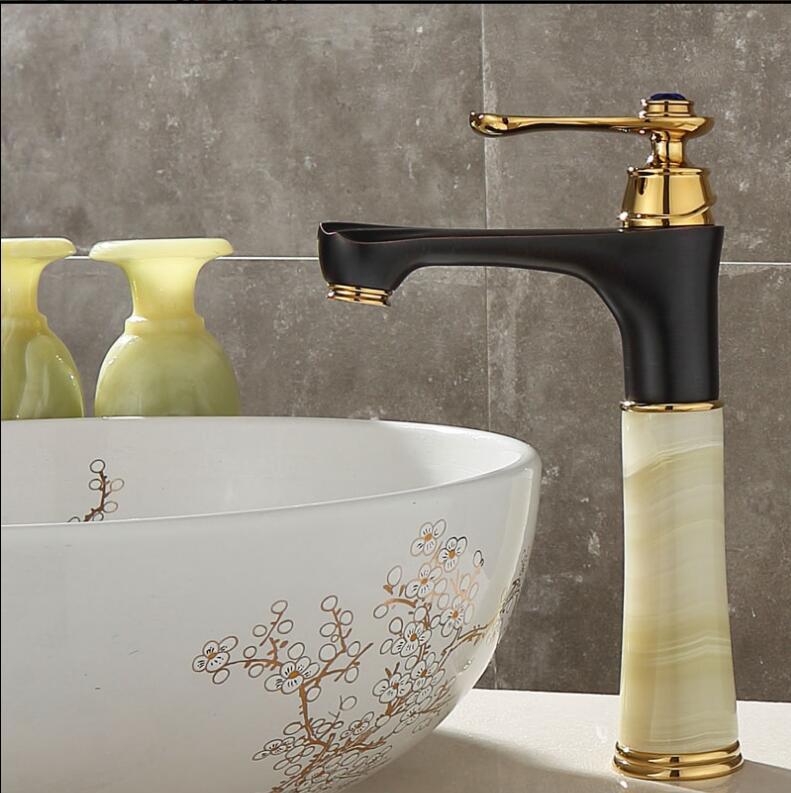 Grand Bassin grue En Laiton et Jade salle de bains robinet total en laiton or et noir à l'huile salle de bains bassin évier robinet de luxe bassin robinet