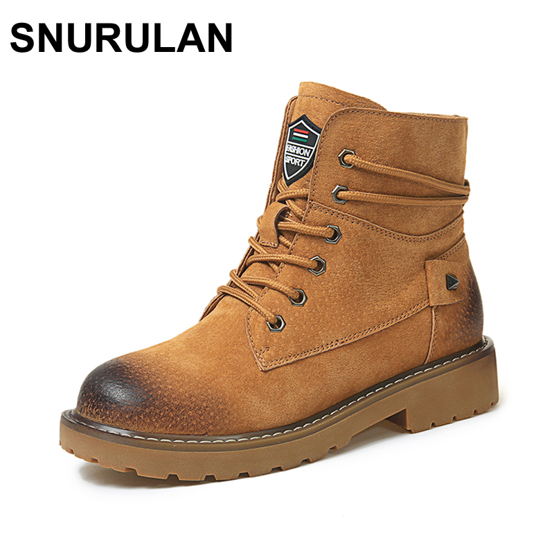 SNURULAN Autumn Winter Genuine Leather Pig Suede Ankle Boots High Quality Wipe Color Fashion Women's Boots New Short Boots de la chance autumn winter genuine leather suede ankle boots wipe color fashion women s boots new short boots ladies shoes