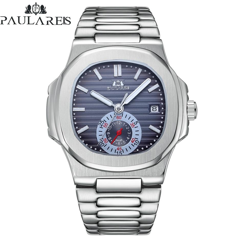 Automatic Self Wind Mechanical Luminous Stainless Steel Blue Grey Coffe Black White Dial Dress Luxury Men Watch