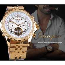 Jaragar Golden Stainless Steel Tourbillion Design Calendar Display Mens Watches Top Brand Luxury Automatic Mechanical Wristwatch
