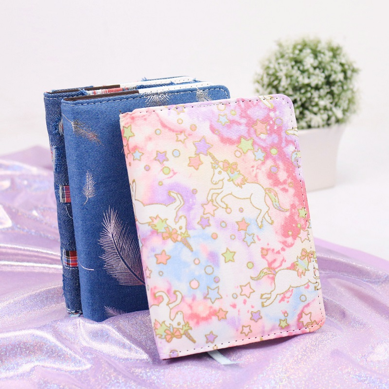 Unicorn Notebook Fashion Silver Feather Diary Flora A6 Fabric Cover Journal Diary Cat Cartoon Notepad Korea Stationery 1china earthing fitted sheet 198x203cm silver antimicrobial fabric conductive fabric new health grounding line mattress cover