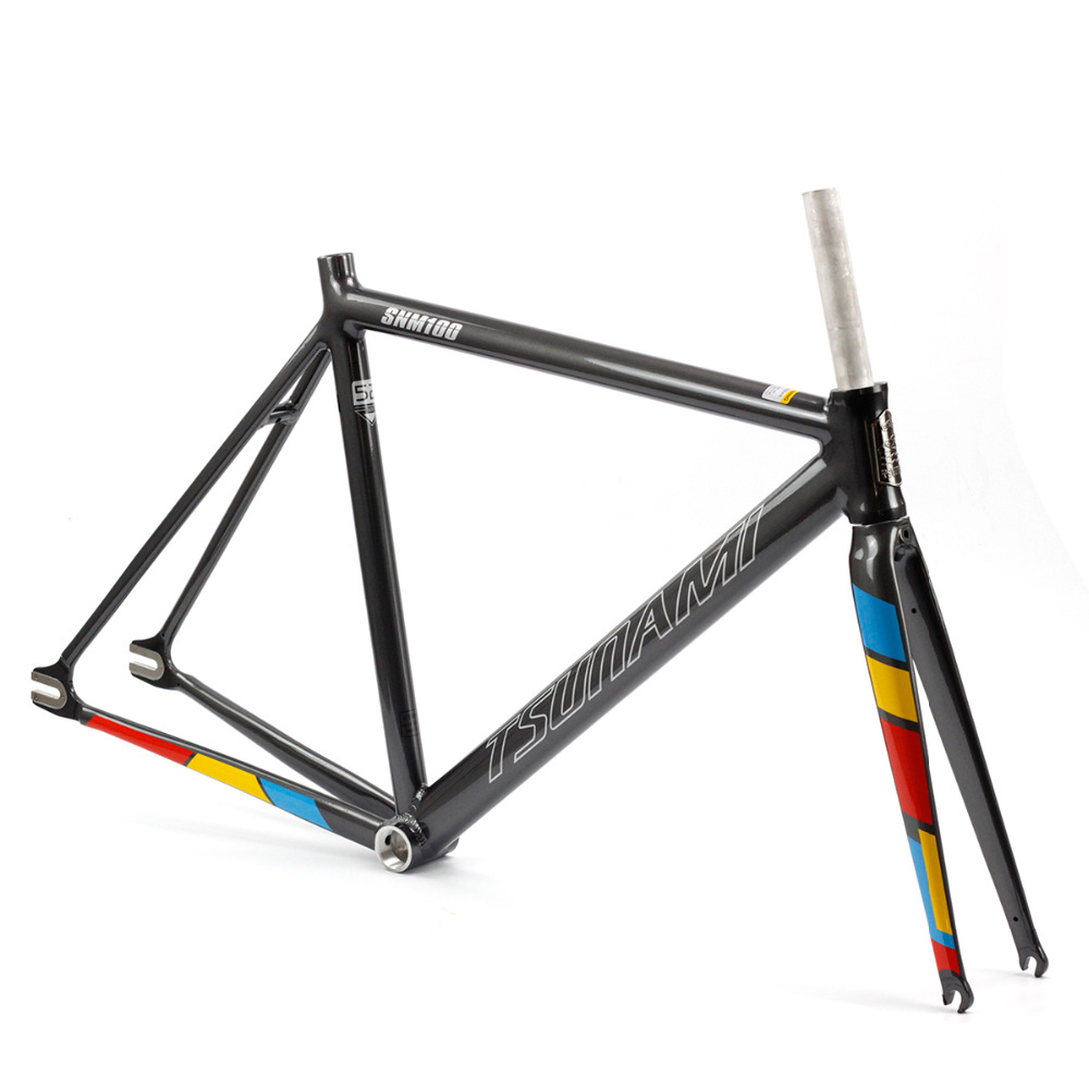 цена на TSUNAMI Aluminium Fixed Gear Frame Fork Road Track 700c x 50cm 52cm 54cm Fixie frame Track High Quality Bicycle Parts Frameset