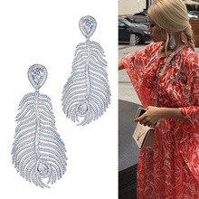 The large Baroque catwalk Feather big Earrings tide brand leaves long tassel Earrings for women women stylish earrings