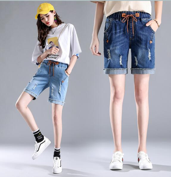 High Waist Denim Shorts Size 34 Female Short Jeans For Women Half Long Summer Ladies Hot Shorts Solid Tassel Denim Shorts