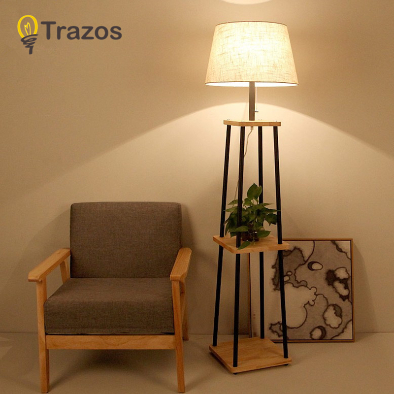 TRAZOS Nordic Style Wooden Floor Lamp Lights Fashion Design Glass Table lamps Lights For Living Room/Country House/Bar/Hotel modern wood table floor lamp living room bedroom study standing lamps fabric decor home lights wooden floor standing lights