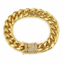Hip Hop Luxury Crystal Rhinestone Triple Lock Bracelet 14mm Cuban Link Box Clasp Bracelet Me's Bracelet Jewlery Dropshipping