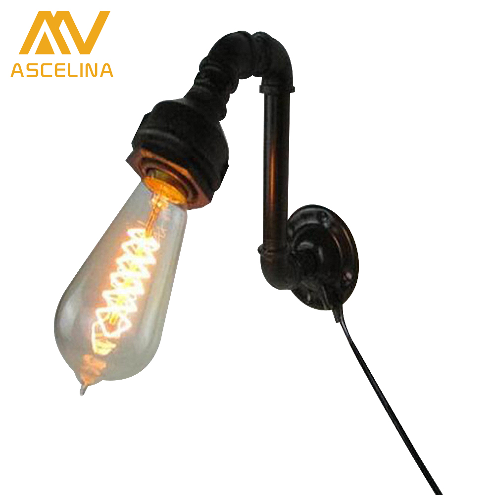Loft  American country Vintage Water Pipe Wall Lamps Antique Wall Lights Black Color With  Lighting E27 Edison bulb wall Lights 2013 antique outdoor lighting for wall decerative wall light with edison light bulb vintage wall lamps
