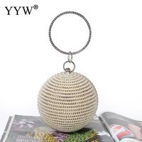Fashion Mini Round Evening Bag Diamonds pearl Big Gold Party Wedding Clutch Purse Ring Top Handle Handbags Female 2019 Sliver