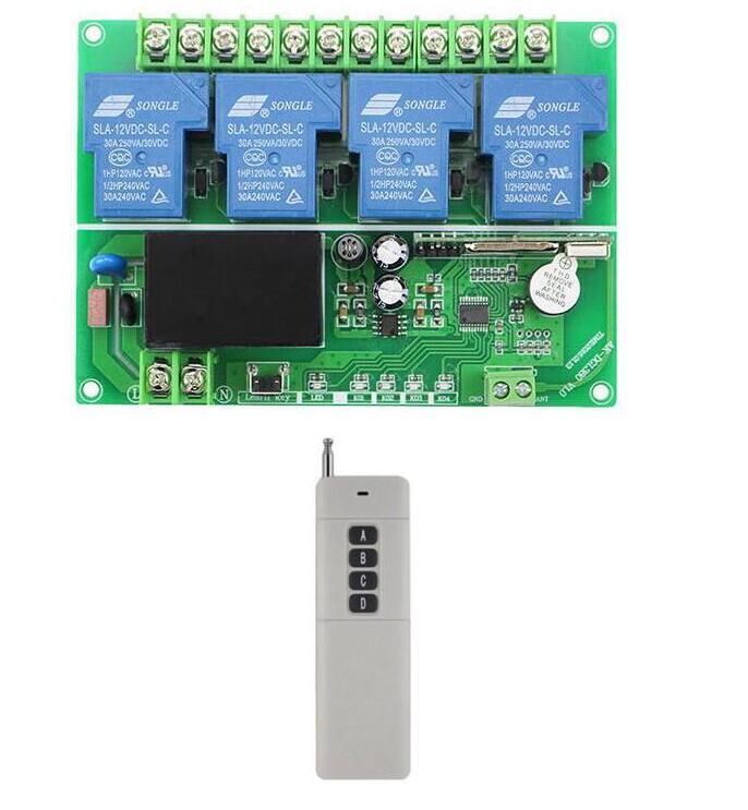 Longue portée AC 220 v 250 v 380 v 30A 4CH RF Sans Fil Système de Contrôle À Distance émetteur récepteur pour appareils garage porte porte