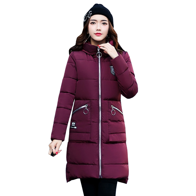 Winter Coat Women 2017 New Slim Fashion Cotton-padded Jacket Plus size long Outerwear Parka Thick Wadded Clothing feminino 4L13 new winter women down cotton jacket long thick women coat padded fashion warm coat outerwear hood over coat slim coat jacket