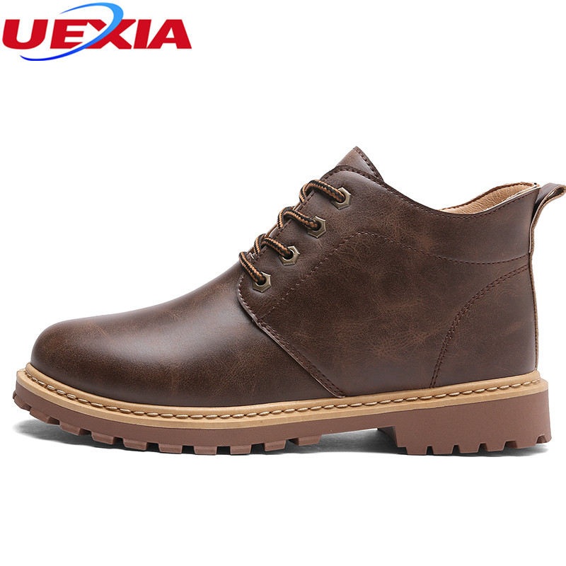 UEXIA New Ankle Boots Autumn Winter Work Safety Male Shoes Quality Designer Man Boot High Top Botas Motorcycle Casual Men Shoes [krusdan]british style men autumn winter boots solid casual genuine leather retro boots falts brand red wine male ankle boot