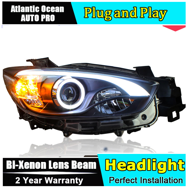 car styling For Mazda CX 5 headlights angel eyes 2013 2016 For Mazda CX 5 Bi xenon Double lens HID KIT led drl head lamps