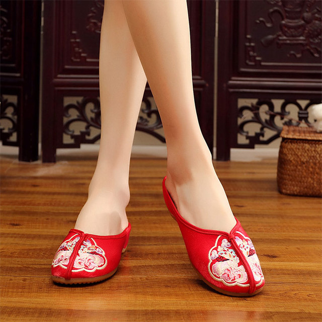 Veowalk Vintage Floral Embroidered Women Close Toe Flannel Cotton Slippers Summer Ladies Soft Shoes Outside/Home zapatos mujer