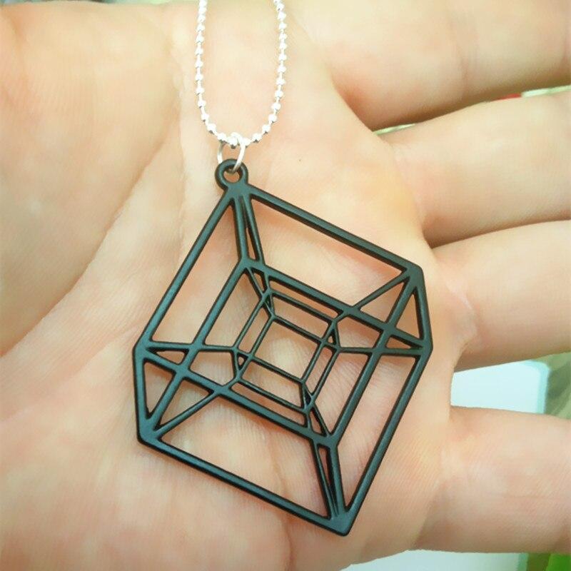 Egy darab Hypercube - arany / ezüstözött geometriai nyaklánc - - Divatékszer - Fénykép 4