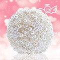 Люкс на заказ жемчуг искусственный букет ручной работы кристалл кот брошь букет 2016 новый свадебные цветы свадебные букеты