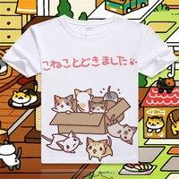 New-Game-Neko-Atsume-Cartoon-Cat-Cotton-T-shirt-Short-Sleeve-O-Neck-T-shirt-for-WomenStudent-Summer-Clothes-Top-Tees-S-4XL-4