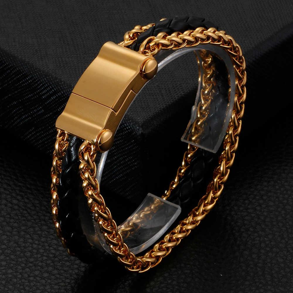 الموضة مضفر جلد رجل سوار الذكور سلسلة ربط الذهب الفولاذ المقاوم للصدأ رجالي أساور التفاف الرجال سوار مجوهرات جديد
