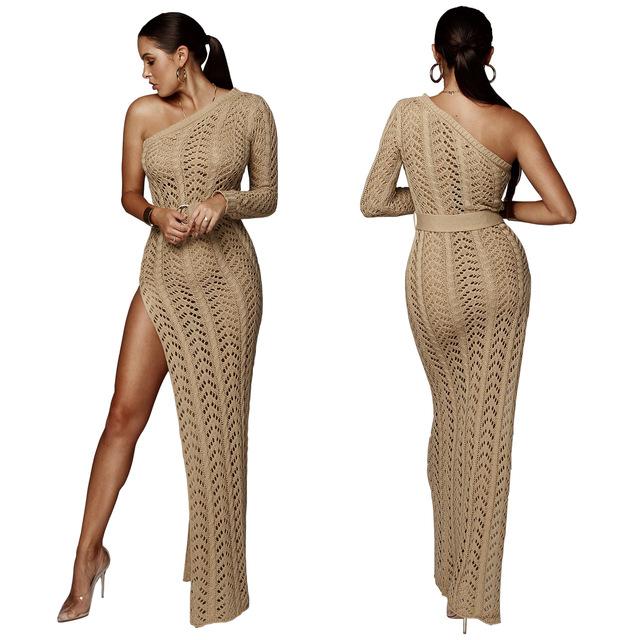 One shoulder high slit knit maxi dress