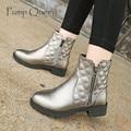 Nueva Otoño Invierno Talones Planos Zapatos de Cuero de La Pu de Las Mujeres Botas Botines Con Cremallera lateral Botas De Invierno Botas de Mujer Más Tamaño 34-43