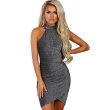 New Glitter Sparkle Bling Evening Party Dresses Women Sexy Nightclub Wear Vestidos Halter Neck Apricot Bodycon Bandage Dress sparkle baby halter dress black