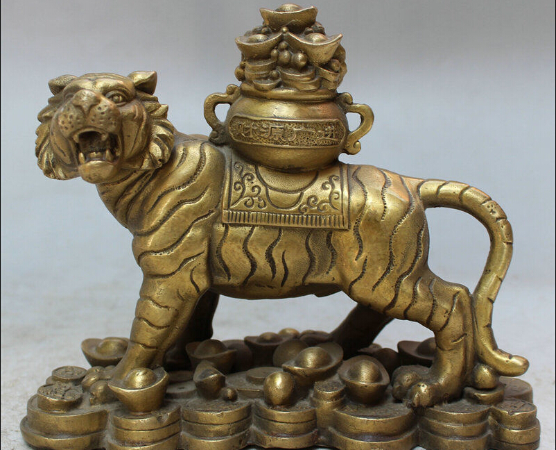 """7"""" Folk Chinese Brass Money Treasure Bowl Ferocity Roar Year Zodiac Tiger Statue statue     - title="""