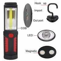 Linterna LED COB recargable por USB, luz de trabajo magnética, soporte con gancho, portátil, Banco de energía móvil para exteriores