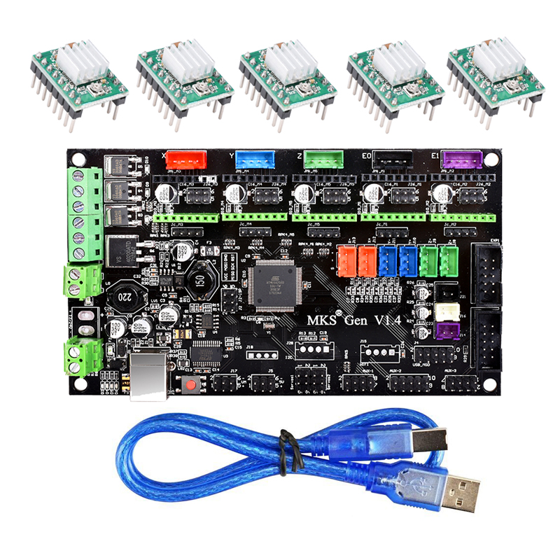 MKS Gen V1.4 control board Mega 2560 R3 motherboard RepRap Ramps1.4 compatible with USB and 5PCS A4988 Driver For 3D printer mks gen v1 4 control board mega 2560 r3 motherboard reprap ramps1 4 compatible with usb and 5pcs a4988 for 3d printer