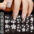 16 projetos temporada de casamento branco do laço com reinstons completa da arte do prego 3d unhas adesivos, adesivo para unhas nail art adesivos