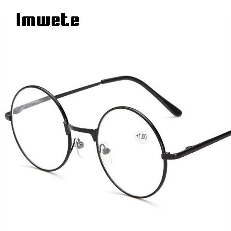 Imwete Round Reading Glasses For Men Women Metal Frame Glasses Hyperopia Prescription Glasses 1.0 1.5 2.0 2.5 3.0