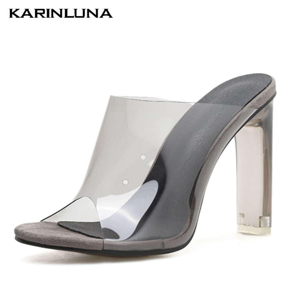 Large Size 42 <font><b>Hot</b></font> <font><b>Sale</b></font> <font><b>Sexy</b></font> PVC Sandals <font><b>Women</b></font> Shoes <font><b>Summer</b></font> Party Slip On Mules High Heels Sandals <font><b>Women</b></font> Shoes image