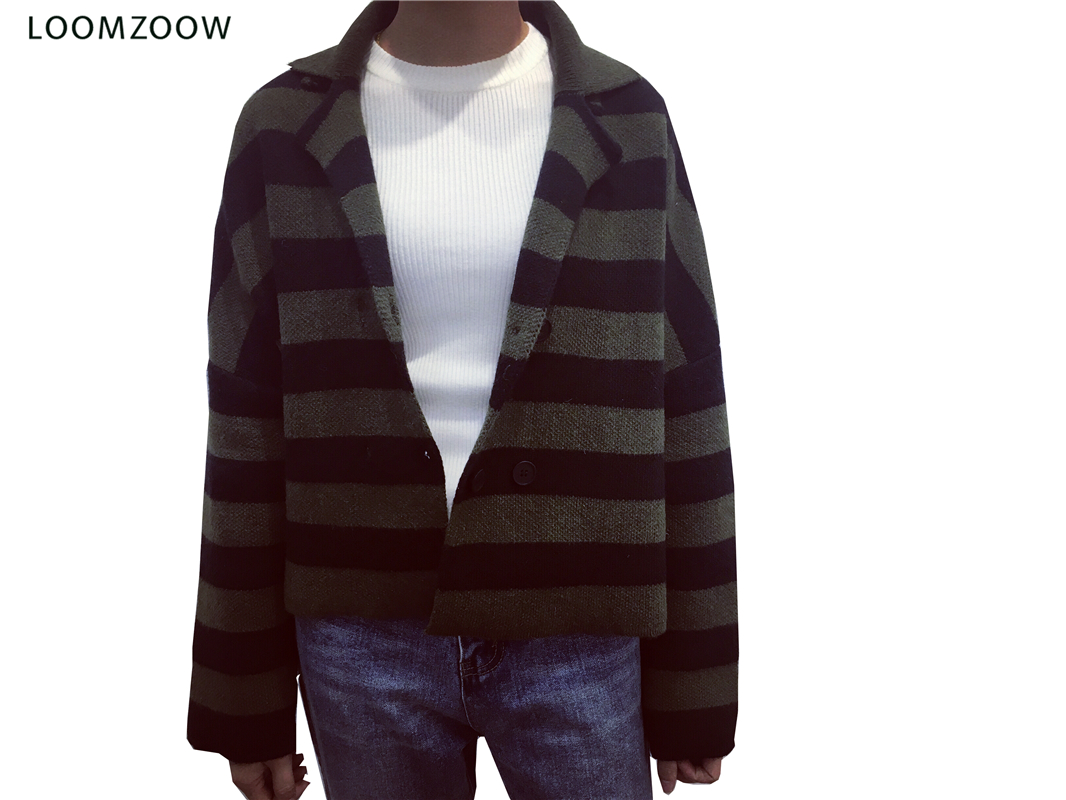 Autumn Sweater Cardigan Women Long Sleeve Button Loose Thick Striped Knitted Outerwear Coat Fashion Causual Jacket Dropshipping