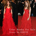 Isla Fisher Sweetheart Chiffon A-line Ruffles Cannes Red Carpet Celebrity Dresses Evening Formal Gowns Party Dress