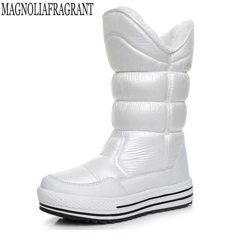 2018 Winter High Women Snow Boots plush Warm Lady shoe Plus size easy wear zipper up girl white platform warm Women