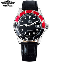 2016 WINNER popular brand men fashion automatic self wind watches creative silver case  transparent glass auto date leather band
