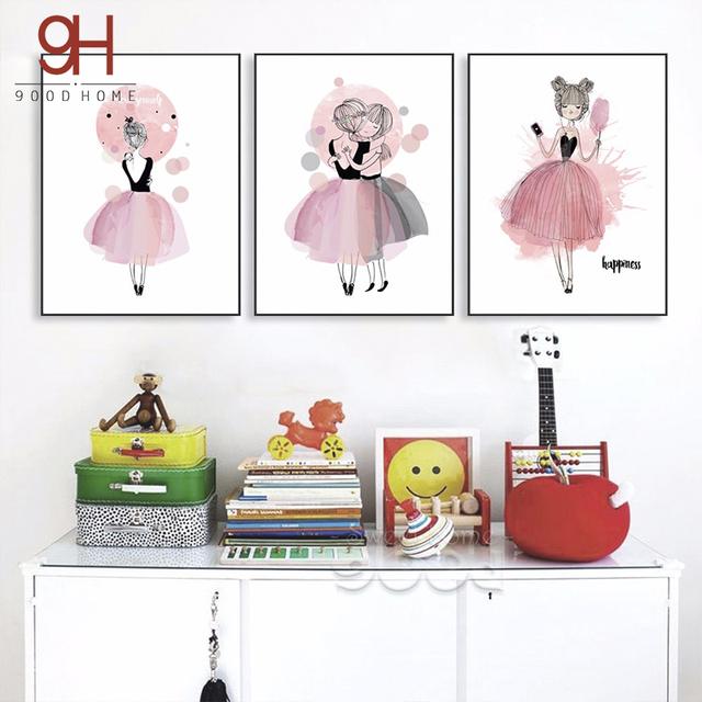 Acuarela Girls Canvas Art Print Poster, pared Cuadros para la Sala Chica Decoración, poster Wall Decor CM022