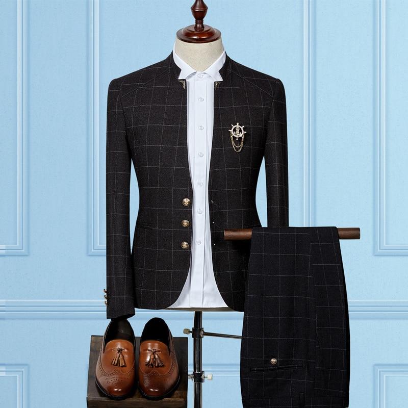 Autumn New Men's Plaid Suit Jacket and Pants Business Wedding Party Blazer Jackets Male Slim Suitable Men Suit Coats S 3XL
