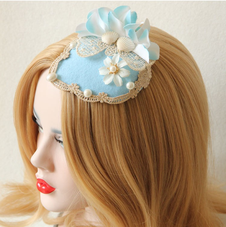 Free ship light blue flowers lace shell medieval hair decoration stage costume accessory