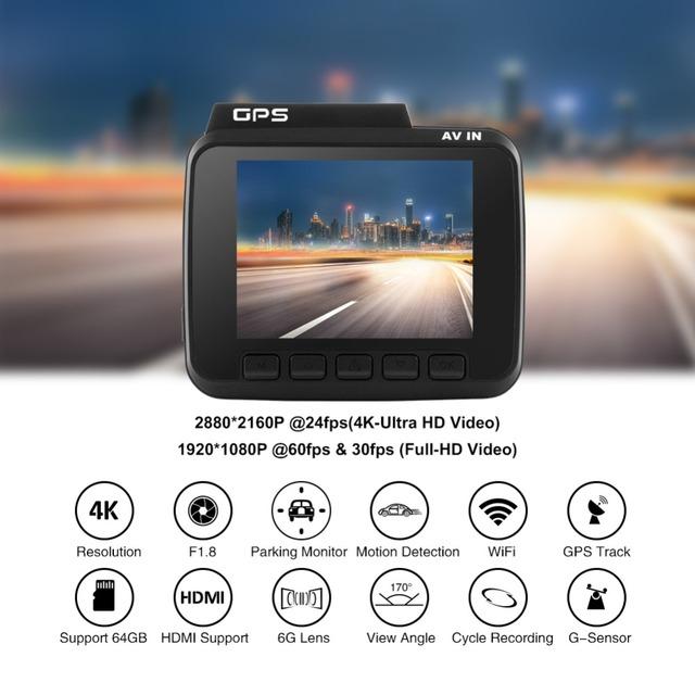 AZDOME GS63H Dual Lens Built in GPS WiFi FHD 1080P Front + VGA Rear Camera Car DVR Recorder 2160P Dash Cam Novatek 96660 Dashcam