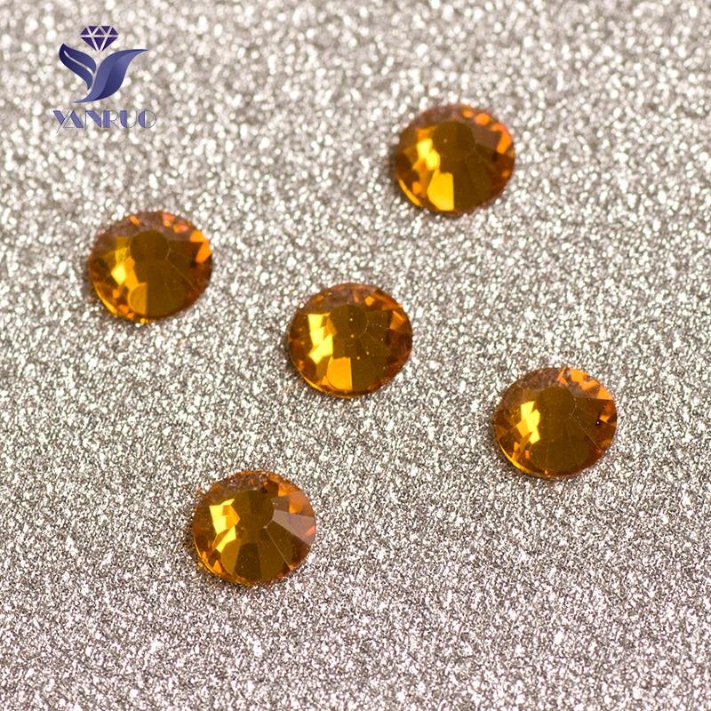 YANRUO #2028NoHF SS16 Topaz 1440Pcs Flatback Strass No Hotfix Crystal Rhinestone Shiny Nail Decoration Tools