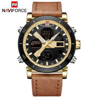 NAVIFORCE Men Watch Digital Sport Mens Watches Fashion Casual Military Dual Display Leather Watch Analog LED Relogio Masculino