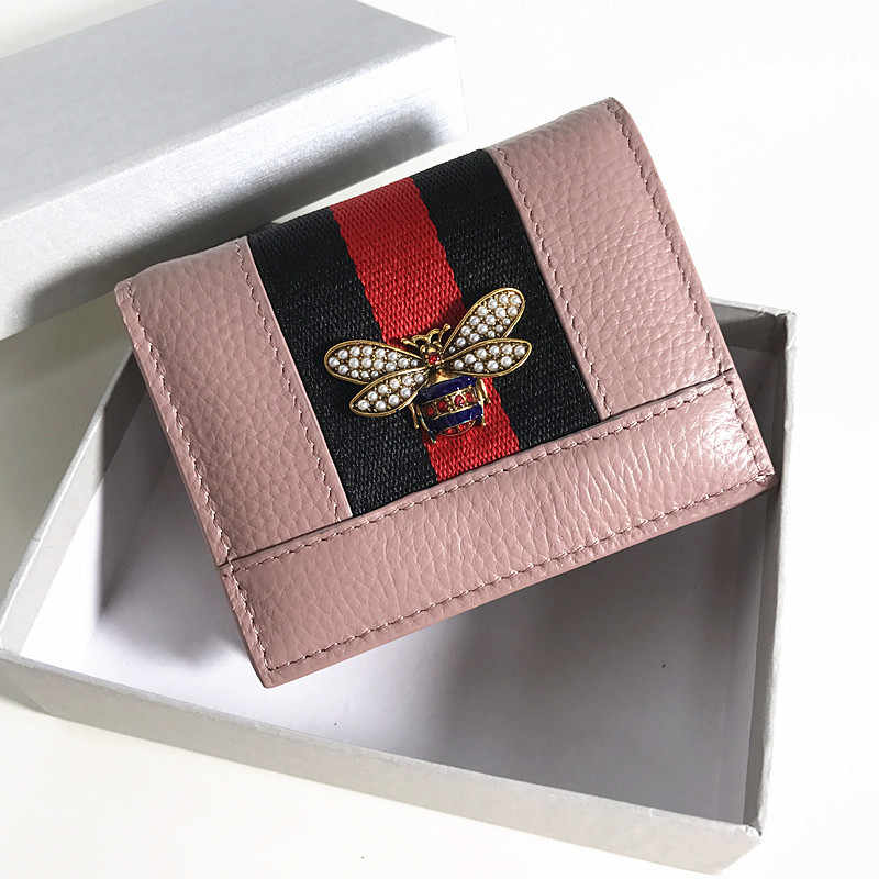 Кожаный короткий кошелек с пчелиным жемчугом, Женский кошелек в европейском и американском стиле, новый кожаный цветной тонкий кошелек для карт