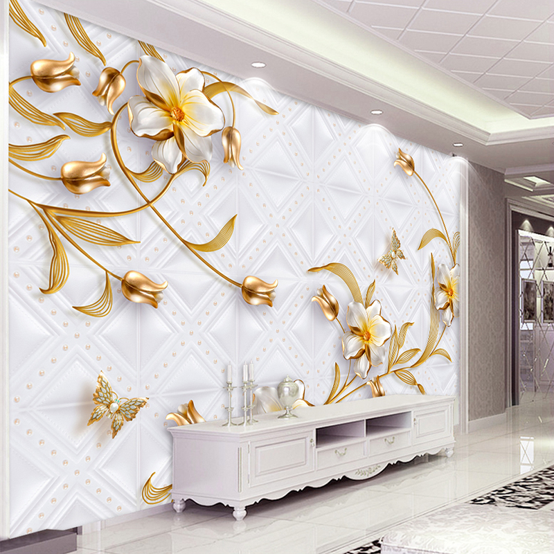 Custom 3D Wall Murals Wallpaper Luxury European Style 3D Stereo Relief Flower Gold Jewelry Wallpaper Wall Coverings Living Room