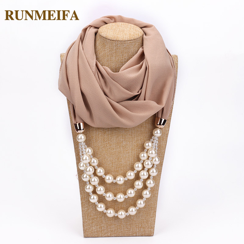RUNMEIFA Multi-style Decorative Jewelry Necklace Pendant Chiffon Scarf Women Foulard Femme Accessories Hijab Free Shipping