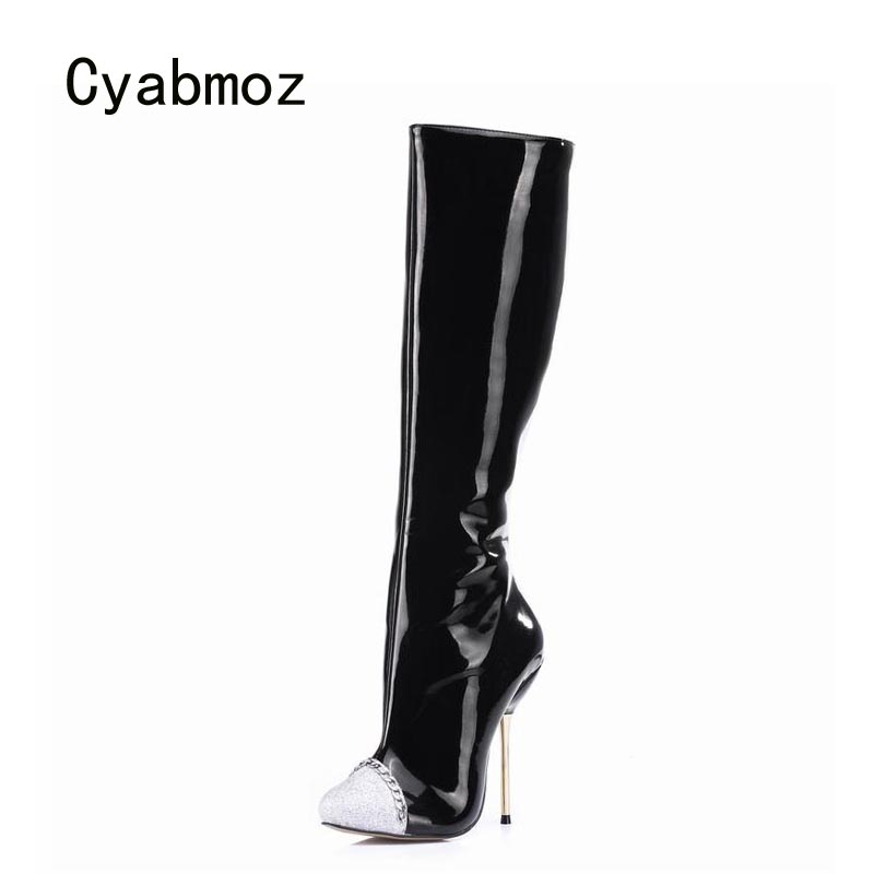 Cyabmoz Big Size Knee High Heels Winter Boots Women Shoes Woman Zapatillas Botas Zapatos Mujer Zip For Ladies Party Dress Shoes batzuzhi 2018 handmade women shoes pointed toe 12cm long boots ladies white knee high party botas mujer winter big size 43