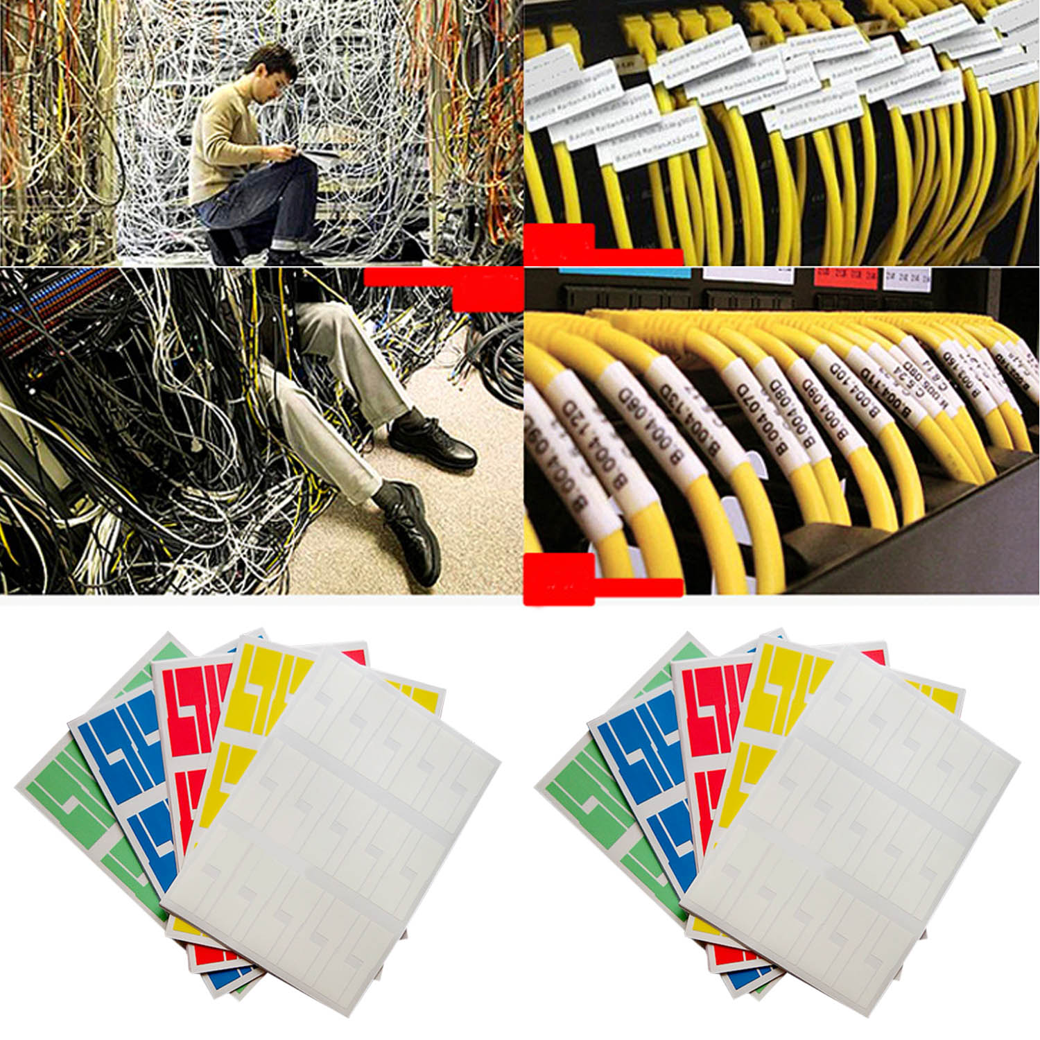 10 Sheets Self-adhesive Waterproof Tear Resistant Cable Labels Sticker Cord Identification Tags For Printer Duplicator A4 Size