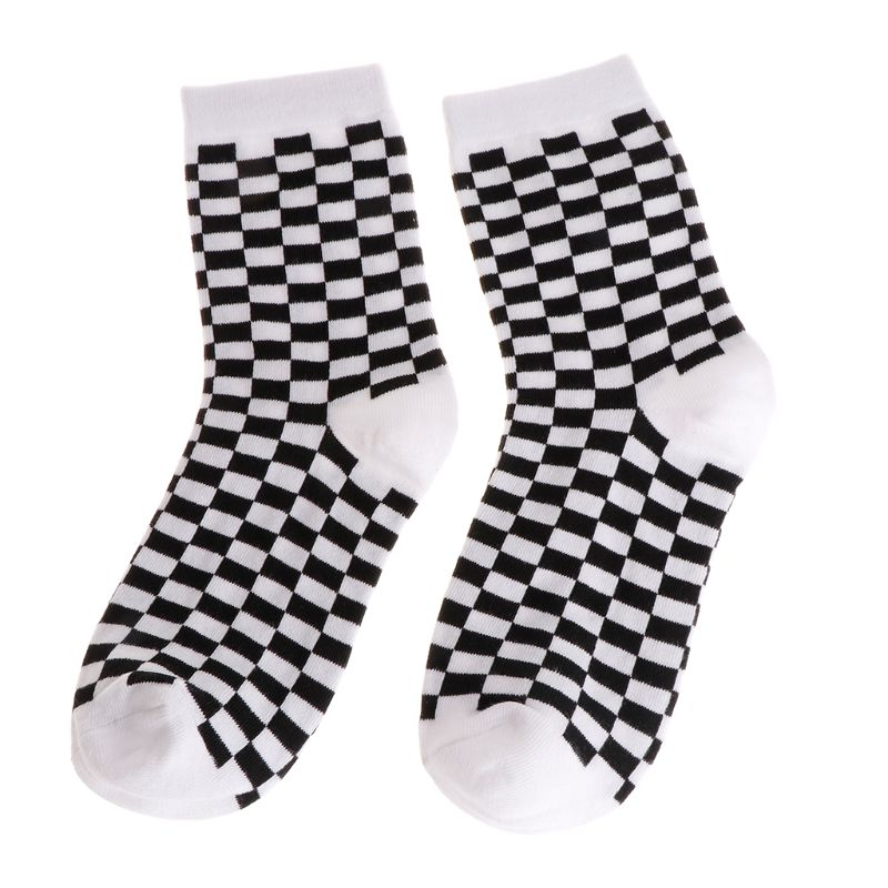 Fashion Trends Men Socks Checkerboard Geometric Checkered Men Women Cotton Socks Black White