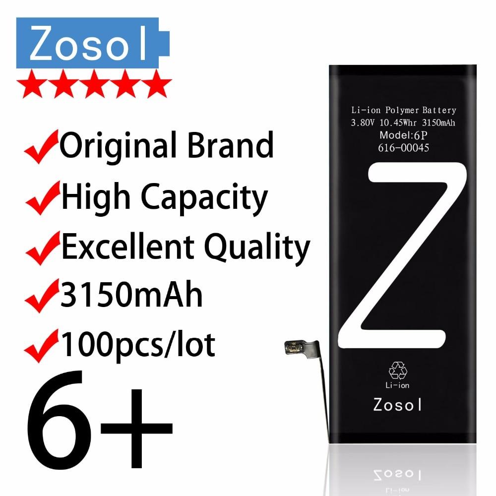 100pcs lot zosol original brand genuine high capacity 3150mah aaaaa quality battery for iphone
